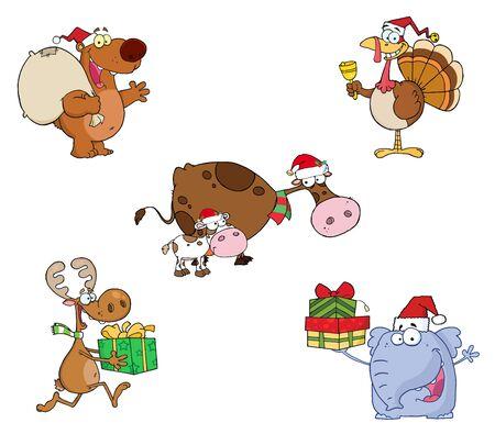 vaca caricatura: Colecci�n de vectores de animales de Navidad  Vectores