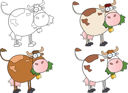 Cartoon Character Cows Different Color-Vector Collection  Vettoriali