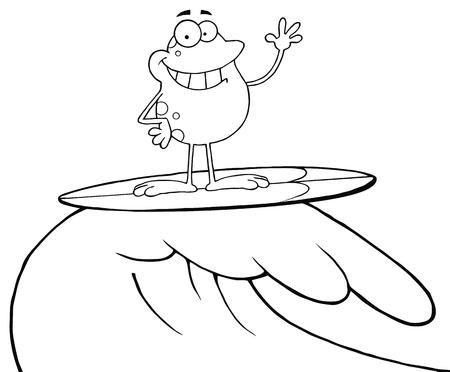 outlined isolated: Se indica la rana feliz mientras Surf  Vectores