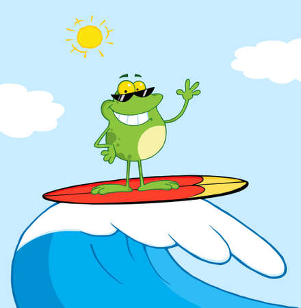 Happy Frog While Surfing In Sea  Vector