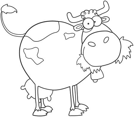 Décrit le personnage de dessin animé de ferme laitière vache  Banque d'images - 9789407