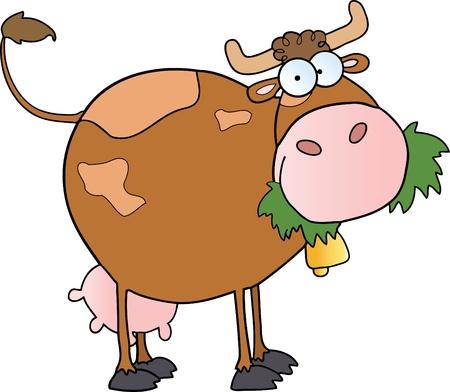 vaca caricatura: Personaje de dibujos animados de vaca granja lechera masticar una hierba