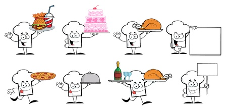 Chef Hat Guy Cartoon Mascot Characters Illustration