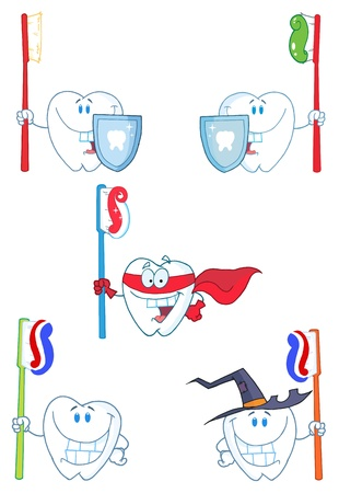 Tooth Mascot Cartoon Characters-Vector Collection  Ilustração