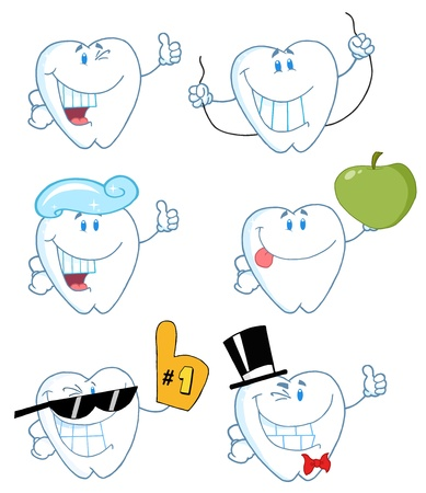 higiene bucal: Personajes de dibujos animados de dientes