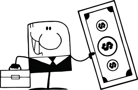 Black And White Cartoon Doodle Businessman Holding Dollar Vector