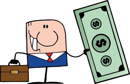 happy client: Doodle Businessman Holding Dollar