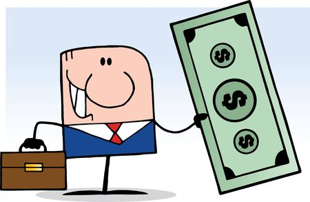 Cartoon Doodle Businessman Holding Dollar Stock Vector - 9901655