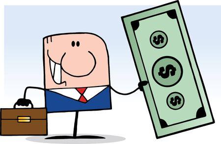 employ� heureux: Homme d'affaires de bande dessin�e Doodle tenant Dollar Illustration