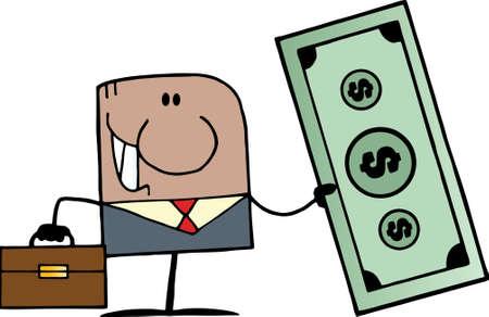 African American Doodle Businessman Holding Dollar  Vector