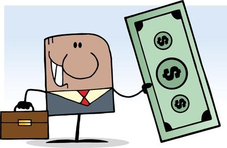 African American Cartoon Doodle Businessman Holding Dollar Vector