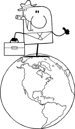 Outlined Cartoon Doodle Businessman Holding A Thumb Up On Earth  Vector