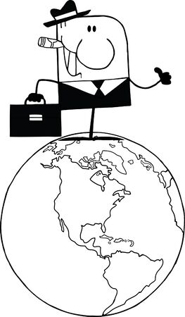 Black And White Doodle Businessman Holding A Thumb Up On Earth  Vector