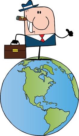 Cartoon Doodle Businessman Holding A Thumb Up On Earth  Vector