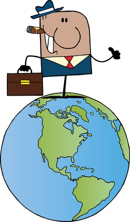 African American Cartoon Doodle Businessman Holding A Thumb Up On Earth  Vector