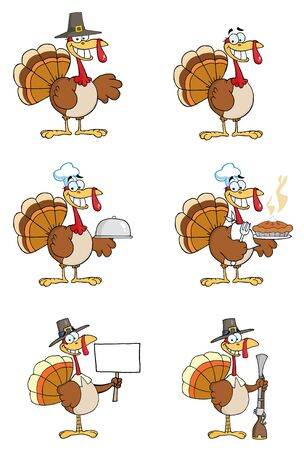Turkey Cartoon Characters Vector