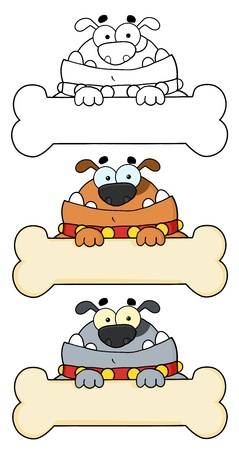 Dog Cartoon Mascot Characters Vector