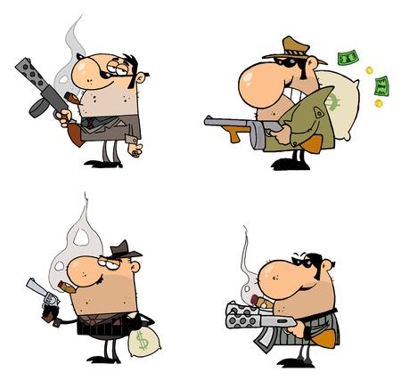 gangster with gun: Personajes de dibujos animados de g�ngsters