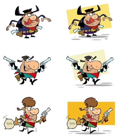 Cowboys Cartoon Characters Vector