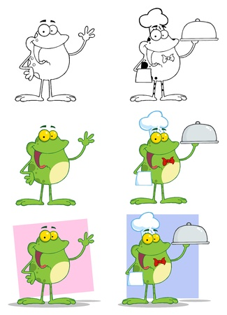 Cartoon Frogs Mascot Characters Vector