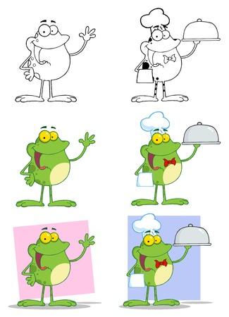 Cartoon Frogs Mascot Characters