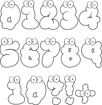 Outlined Funny Bubble Cartoon Numbers-Vector Collection Vector