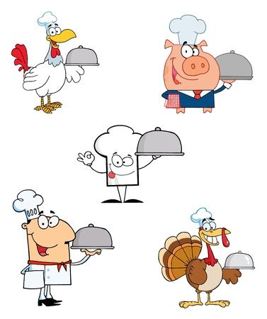 Different Chef Cartoon Mascot Characters Vector