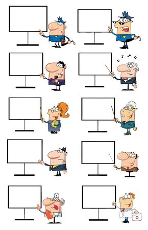 Different People Standing By A Blank Board Vector
