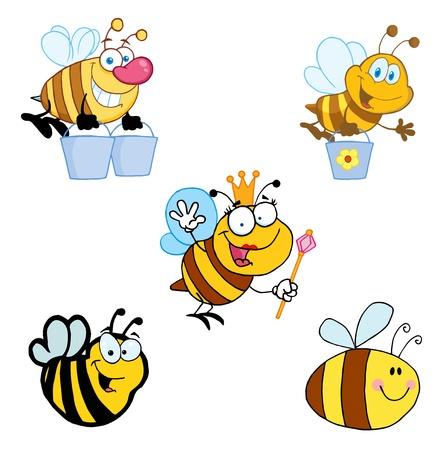 Verschillende Bee Cartoon mascotte tekens