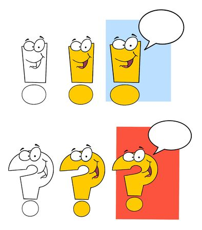 Exclamation Marks Cartoon Mascot Characters  Vettoriali