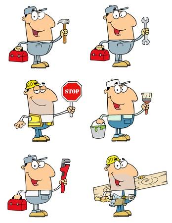 handy man: Persone di differenti professioni Vettoriali