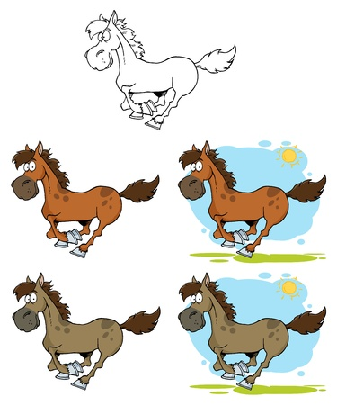 Cartoon Horses Running Vector