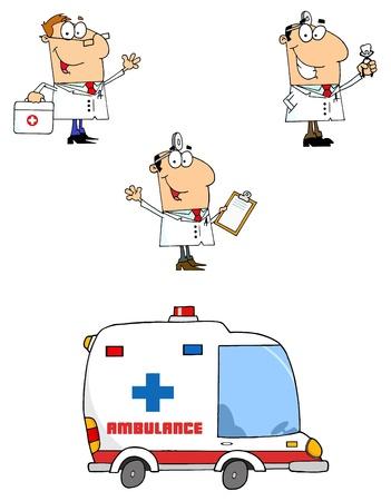 hilfsmittel: �rzte-Cartoon-Figuren Illustration