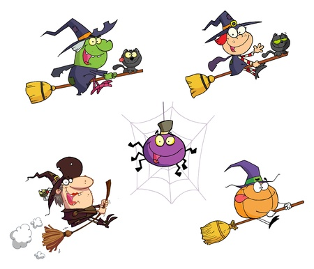 broomstick: Halloween Cartoon Characters Illustration