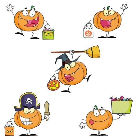 Pumpkin Cartoon Characters Vector