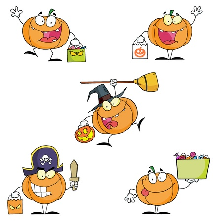 Pumpkin Cartoon Characters Illusztráció