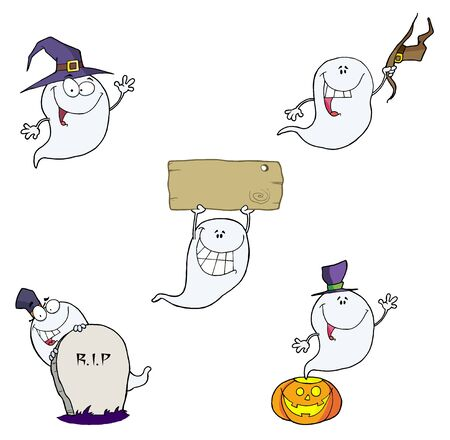Ghost Cartoon Characters Vector