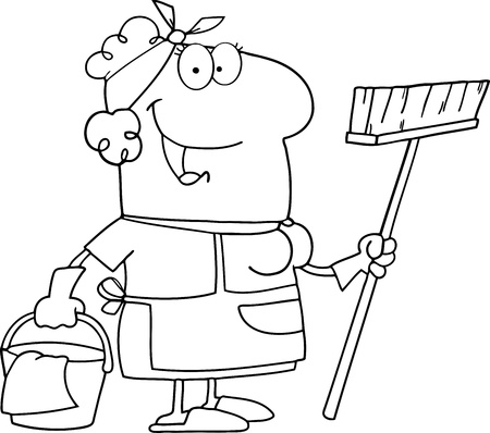 mop: Outlined Cleaning Lady Cartoon Character