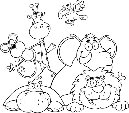 Outlined Jungle Animals Vector