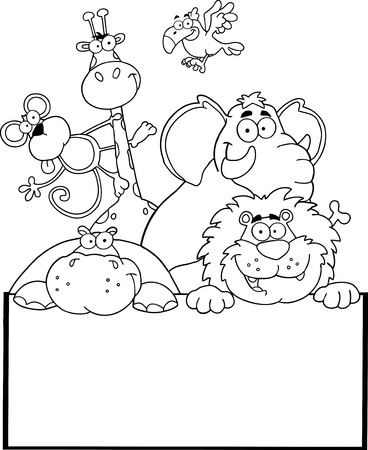 Outlined Jungle Animals With Blank Sign Board