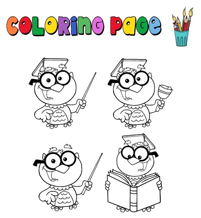 Coloring page with owl teacher Ilustracja