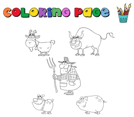 Coloring page with farm animals and farmer Vector