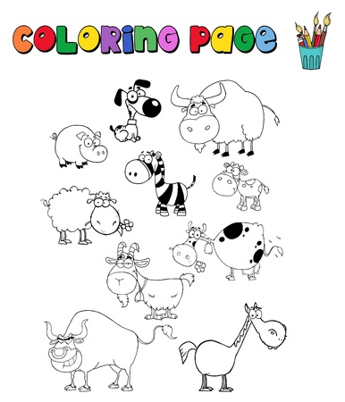 Coloring page with farm animals Vector