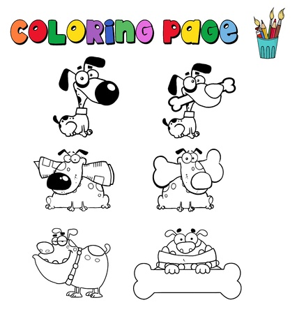 Coloring page with dogs Vector