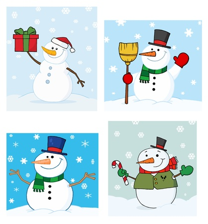 Joyous Snowman.Vector Collection  Vector