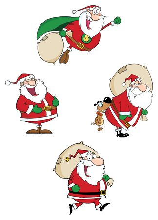 Santa Claus Waving A Greeting.Vector Collection