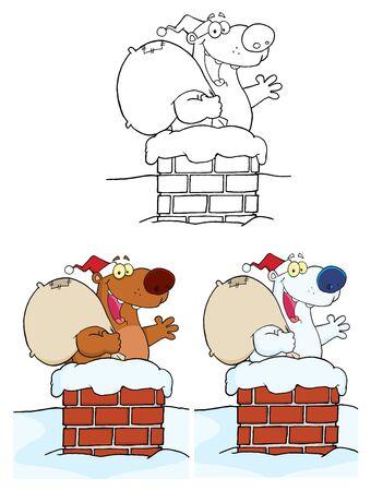 Happy Santa Bear Waving A Greeting.Vector Collection  Vector