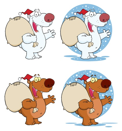 Santa Bear Waving A Greeting.Vector Collection  Vector