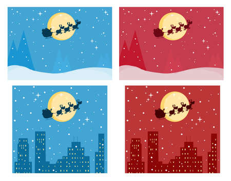 Santas Sleigh In Red And Blue Christmas Night .Vector Collection Vector