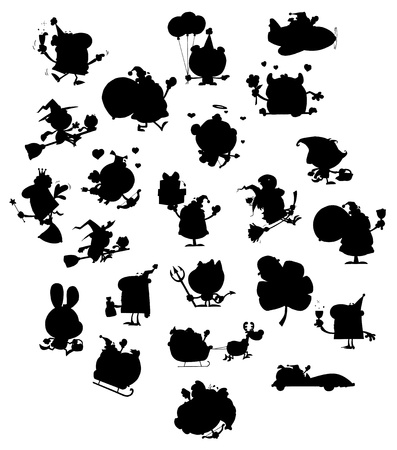 Cartoon Black Silhouettes Vector
